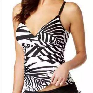 Calvin Klein women's black white Tankini Top Large